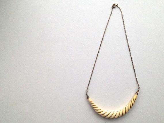 V I N T A G E // gold vermeil over sterling / statement necklace / a carved bone necklace