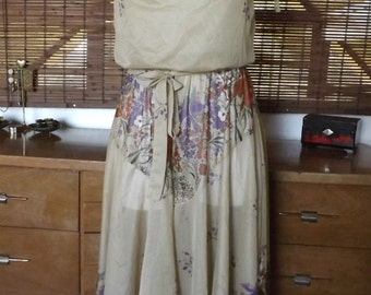 Vintage 70s Sheer beige tie sleeve floral boho midi dress M Free Shipping