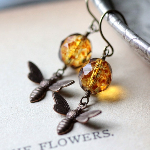 Honey Bee Charm Earrings Beaded Earrings Amber Glass Bee Charm Brass Earrings Dangle Earrings Drop Earrings Honeybee Earrings