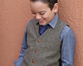 Tweed wool Pants and vest t set ring bearer baptism baby boy suit birthday boy suit christening