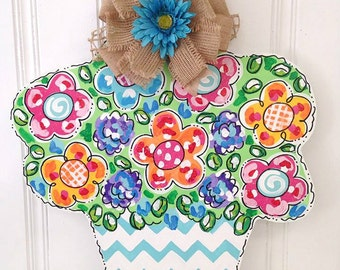 Chevron Flower Pot Door Hanger - Bronwyn Hanahan Art