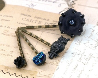 Black Owl, Rose, Silk Poof and Faux Druzy Bobby Pins. Gothic Hair Accessories.
