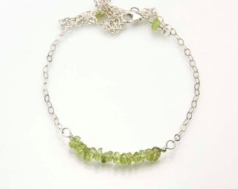 Peridot Gemstone Necklace, August Birthstone, SALE, Ready to Ship