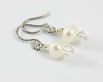 White Pearl Earrings with Hypoallergenic Titanium Earwires- White Freshwater Pearls and Swarovski Crystals