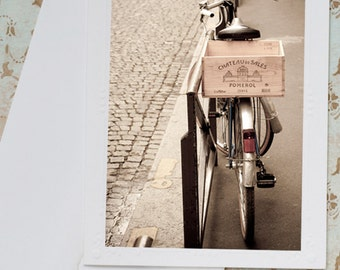 Paris Photo Notecard - Paris Photography Card, Bicycle, Note Card, Stationery, Blank Notecard