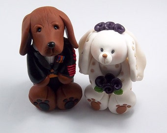 Wedding Cake Topper, Polymer Clay Figurine, Vizsla Dog, Bunny, Personalized Wedding Cake Topper