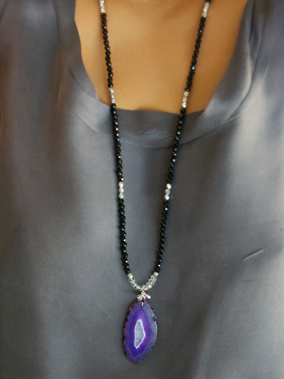 Agate Necklace/ Long Bead Necklace/ Boho Jewelry/ Agate Slice/ Large Agate Pendant/ Boho Necklace/ Purple Agate