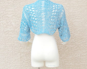 Hand Knit Handmade Summer Shrug  Sweater Bolero Ribbon Art Yarn Ocean Blue White Blend