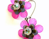 Pink, blue and pale green lucite Flower earrings
