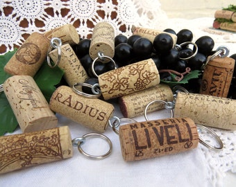 50 Wine Cork Keychains, Party or Wedding Favors