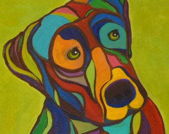 Duke- Labrador Retriever Colorful Original Abstract painting PRINT