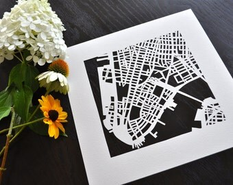 NYC hand cut map ORIGINALS, 10x10