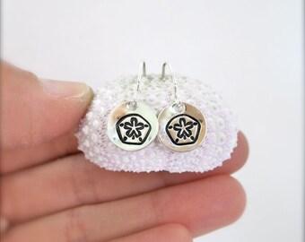 Sand dollar silver earrings, beachy earrings, tiny silver earrings, handstamped earrings, disc earrings, hawaii, dainty silver earrings