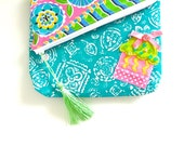 Neon Cupcake - Fold Over Clutch - Asymmetrical - Zippered - OOAK - Handmade in USA