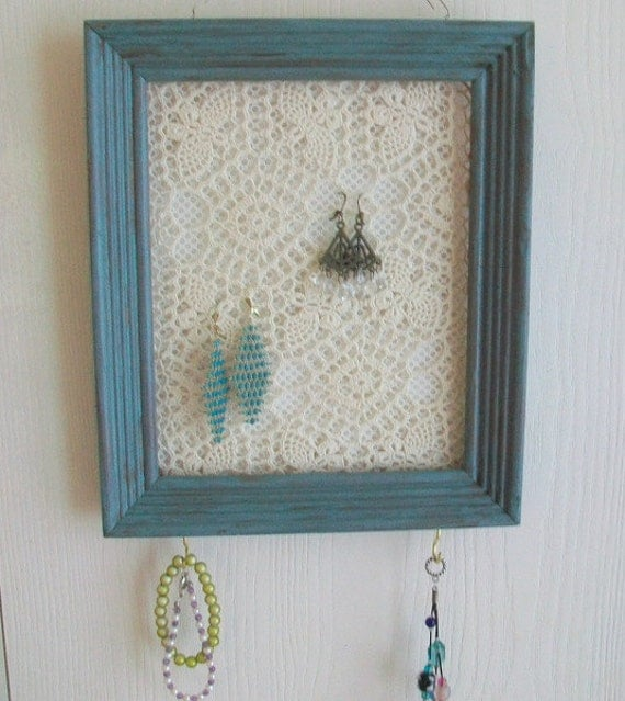 Jewelry organizer wall hanging repurposed picture frame for Picture frame organization wall