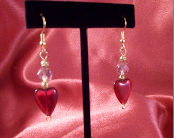Rosy Czech Glass Heart and Lavender AB Crystal Earrings