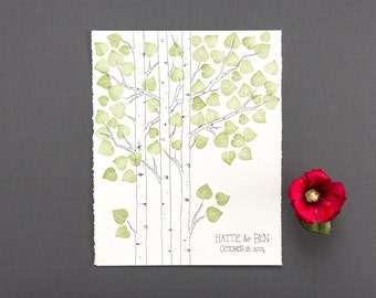 MODERN Wedding Tree Guest Book Small ASPEN Tree Original Drawing with PRESTAMPED Leaves