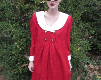 KIKI - Bright Red and White Slouchy Sailor Nautical 90s Grunge Pleated Bold Glam Chic Retro Day Dress Medium