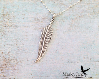 Sterling Silver Feather Necklace Sterling Silver Native American Feather Necklace Sterling Silver Indian Feather Necklace