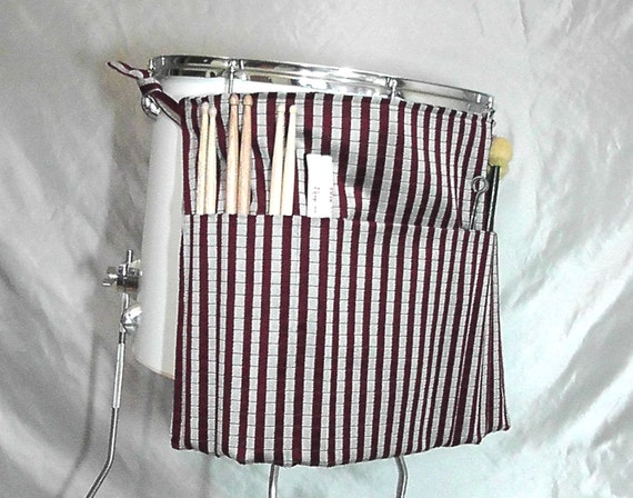 Roll It Ups Drumstick Bag in Red and Silver Stripe - Drum Bag Drumstick Stick Bag for Drummers on Drum Set and Percussion