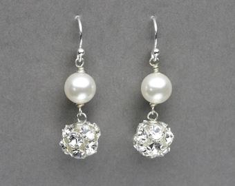 Pearl and Rhinestone Earrings, Pearl Bridal Jewelry, Swarovski Wedding Jewelry, Pearl Earrings, Simple Pearl Dangle Earrings