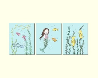 Mermaid Art -- Under the Sea Art Prints -- Nursery Decor -- Mermaid Fish Seahorse -- Set Of 3 Prints -- Kids Wall Art