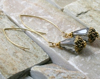 Dangle earrings, beaded jewelry, gold dangle earrings, drop bead
