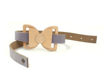 Bow Belt - bowtie belt - women belts - leather belt - gray leather belt - thin strip belt- leather waist belt - made in israel