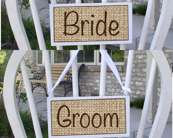 Wedding chair signs, bride and groom signs, wooden chair signs, reception decor, wedding decor, mr. and mrs signs, rustic wedding decor