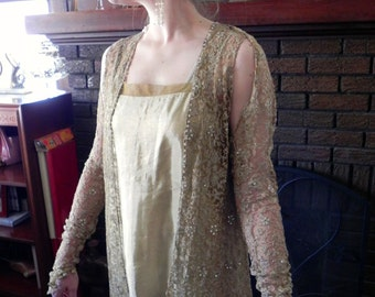 Vintage Exquisite 20s Gold Dress Set / 1920s Flapper Outfit Spectacular 4 pc Dress Set with gloves S - on sale