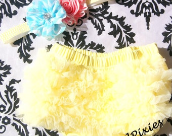 Baby Girl Headband Set- Ruffle Bum Baby Bloomer Diaper Cover, Baby Headband, Chevron Flower Headband, Photo Prop Ages 0 3 6 9  12  24 months