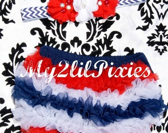 Diaper Cover And Headband-Red White Navy Blue Baby Set,Ruffle Bum Baby Bloomers, newborn bloomer,Flower headband-4th of July Home Coming