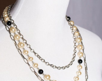White Black Pearls and Silver Three Chain Necklace