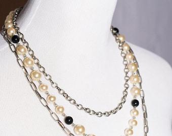 White Black Silver Three Chain Statement Necklace