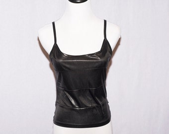 90s Black Goth Tank Top - Wet Look - Size Small