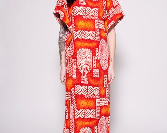 Vintage Bohemian Bright Orange Maxi Dress