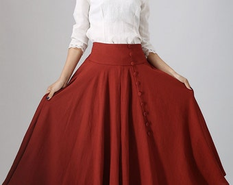 Long skirt, pleated skirt, red maxi skirt, linen skirt, circle skirt, button skirt, custom made skirt, circle skirt, made to order  (781)