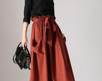 maxi skirt pockets, Tuscan red skirt ,  linen skirt with elastic detail waist - Long full skirt with self tie belt - Custom made (848)