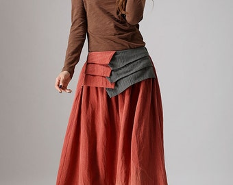 maxi skirt long, Orange skirt, linen skirt ,women skirt, Custom skirt, maxi skirt, long skirt, ladies skirts, made to order, fall gifts 856
