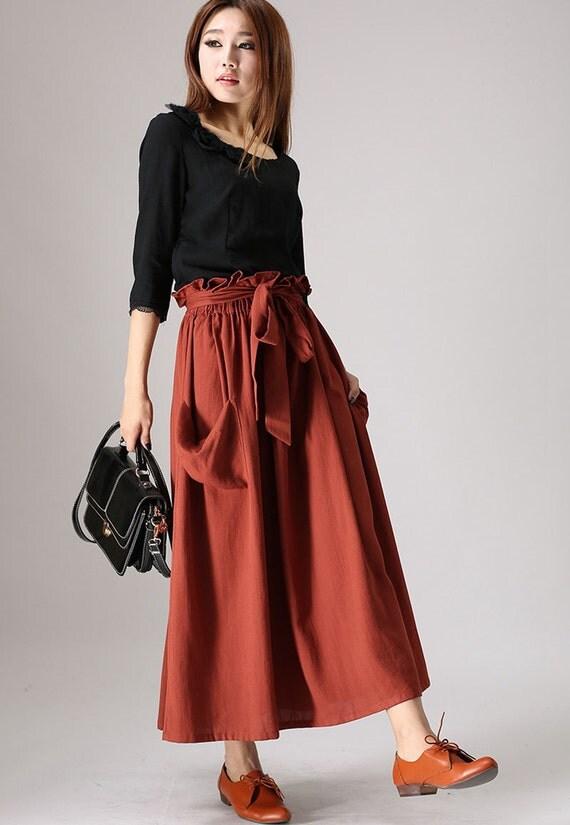 maxi skirt pockets tuscan skirt linen skirt with