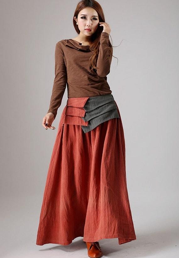 maxi jupe longue jupe orange jupe en lin jupe femme jupe. Black Bedroom Furniture Sets. Home Design Ideas