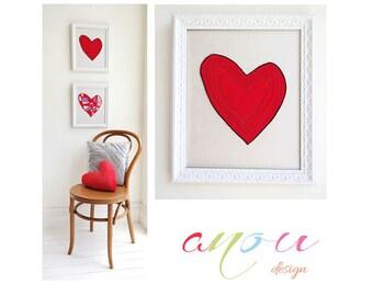 "Heart wall Art, ""Not so complicated Heart"", Canvas 10 x 12 inch"