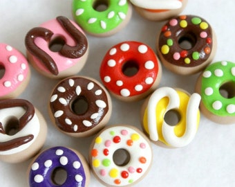 Polymer Clay Donut Cabochons, Jewelry Supply, Polymer Clay Food Cabochon