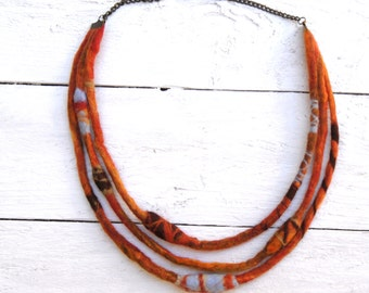 Orange Rust Fiber Necklace, Felted Necklace, Tribal Felt Necklace, Fall Colors
