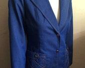 Vintage Women's 80's Suit Jacket, Blue, Denim, Fully Lined, Blazer (S)