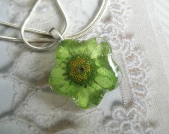 Lime Green Daisy Glass Flower Shaped Pressed Flower Pendant-Nature's Wearable Art-Symbolizes Innocence, Loyal Love-Gifts Under 25