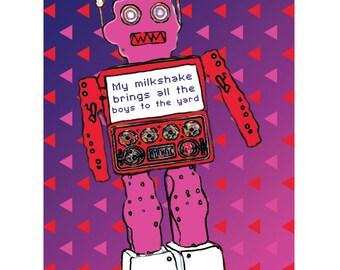 Colourful Vibrant BARBARA Robot 60s Retro Style Print Wall Art  A4