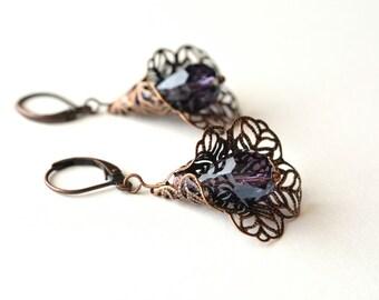 Purple Flower Earrings Copper Filigree Dangle Earrings Purple Dangle Earrings Victorian Antiqued Filigree Jewelry