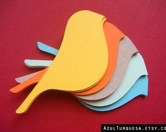 40 die cut bird shape for tags, scrapbooking, colored cardstock (BT-01)