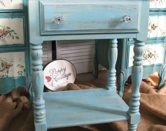 Cottage Nightstand / Accent Table Vintage Poppy Cottage Painted Furniture PAINT to ORDER
